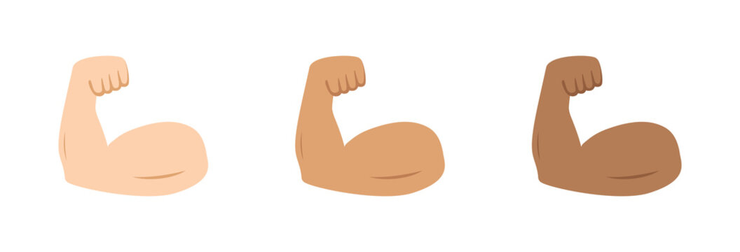 Arm muscle. Emoji of strong bicep. Emoticon of strength in hand. Icon of power of protein for man. Flex muscle of arm. Exercise in gym for health. Logo of fitness, workout, bodybuilder, sport. Vector