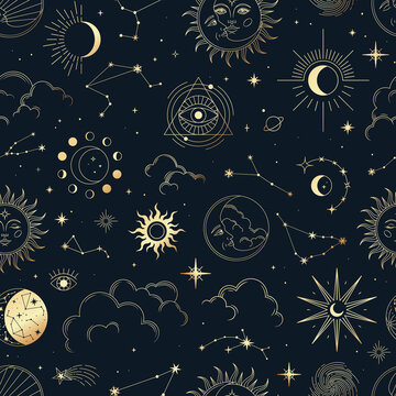 Vector magic seamless pattern with constellations, sun, moon, magic eyes, clouds and stars. Mystical esoteric background for design of fabric, packaging, astrology, phone case, yoga mat, notebook