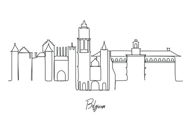 Antwerp city of Belgium landmark skyline  - Continuous one line drawing