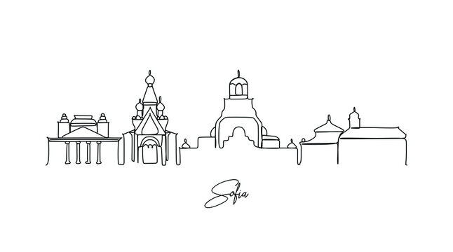 Landmark of Sofia, Bulgaria skyline - Continuous one line drawing