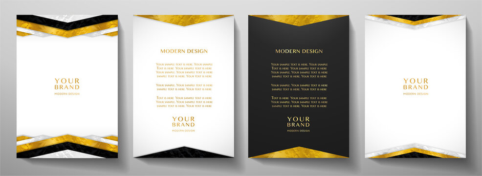Modern white, black cover design set with gold geometric lines (triangle). Luxury creative premium pattern backdrop. Formal vector background template for business brochure, certificate, diploma, invi