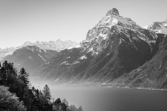 Gitschen mountain peak, 2'513 m. Switzerland.  Canton of Uri. in black and white