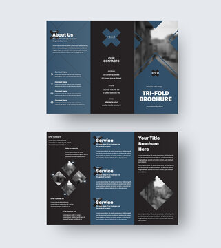 Vector trifold template, triple catalog with geometric design, cross, blue elements on black background.
