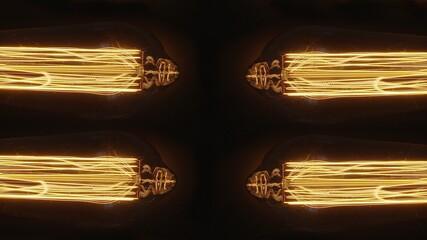 Fototapeta Cztery żarówki Edisona, ozdobne żarówki na ciemnym tle  obraz
