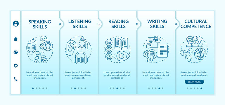 Foreign language learning competencies onboarding vector template. Listening skills. Cultural competence. Responsive mobile website with icons. Webpage walkthrough step screens. RGB color concept