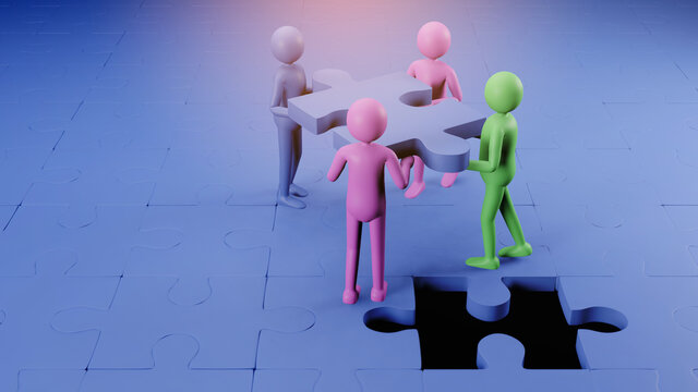 Partners holding big jigsaw puzzle pieces 3D rendering. Successful partnership. Teamwork and business cooperation concept.