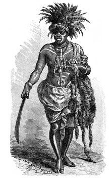 Tradicional African healer and shaman from Loango coast, Republic of the Congo today. Culture and history of Africa. Vintage antique black and white illustration. 19th century.
