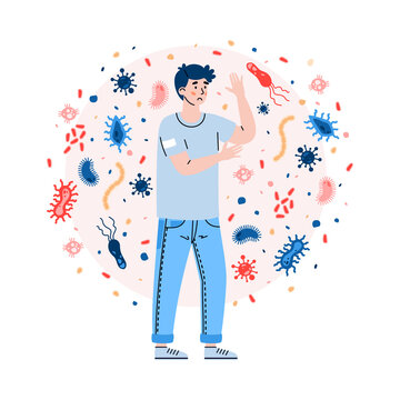 Man with weak immune system not protected from attacks viruses, germs and bacteria. Bad habits and unhealthy lifestyle as cause of poor immunity. Flat vector isolated illustration.
