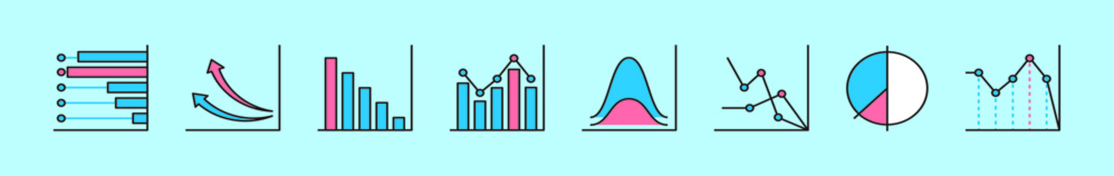 set of bell curve cartoon icon design template with various models. vector illustration isolated on blue background