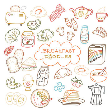 Cute color line breakfast doodle with toaster, sandwich, bacon, tea pot, cup, strawberry jam, milk, cereal, pancake, egg, avocado, sausage, bowl, tomato and fruits.