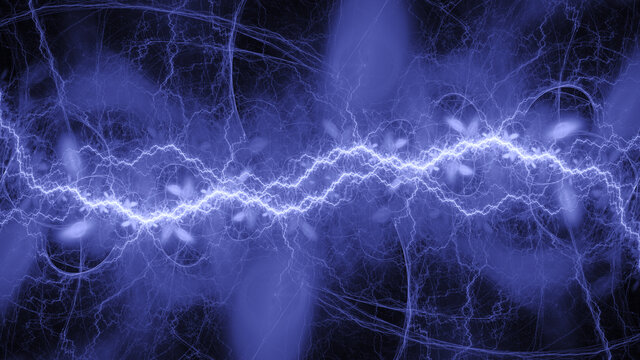 Blue lightning background, cool electrical abstract