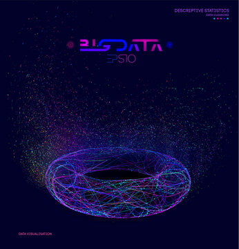 Big data particles. Information background with futuristic geometric structure. Big data visualization digital design. Energy concept vector illustration.