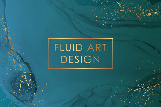Modern abstract luxury background design or card template for birthday greeting or wallpaper or poster with turquoise watercolor waves or fluid art in alcohol ink style with rose gold glitter.