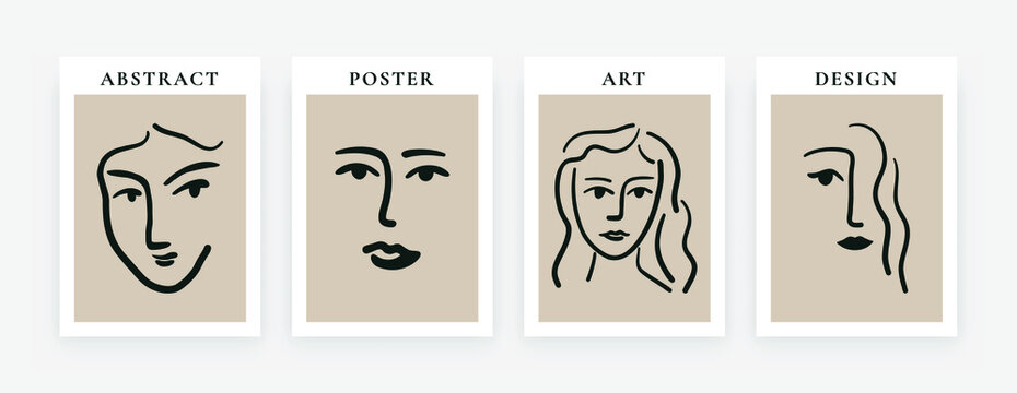 Contemporary art posters. Abstract Matisse inspired faces shapes for decoration. Modern print set, vector illustration