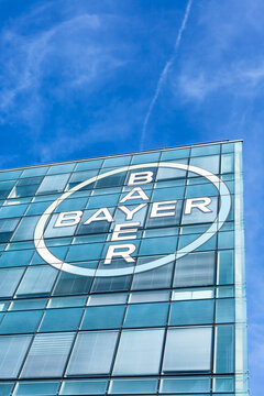 Bayer AG brand logo on its office building in Lyon
