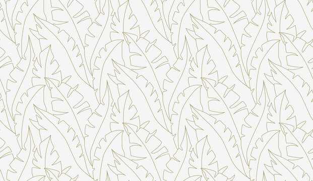 Palm leaves seamless pattern vector. Lina art illustration. Shirting textile pattern of vector banana leaves. Retro background prints abstract. EPS 10.