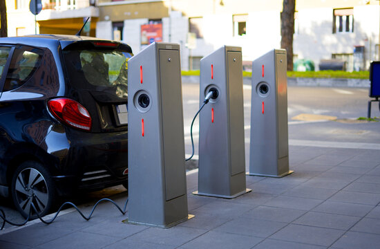 electric car charging station in the city