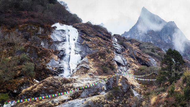 Frozen waterfall in Himalayas mountains. Everest Base Camp trek.