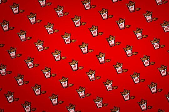 Red fried chicken pixel background
