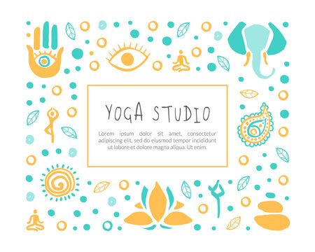 Yoga Studio Banner Template with Space for Text, Ayurveda, Traditional Medicine, Meditation Class and Spiritual Practice Card, Poster Hand Drawn Vector Illustration