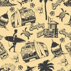 Obraz Vintage monochrome surfing seamless pattern - fototapety do salonu