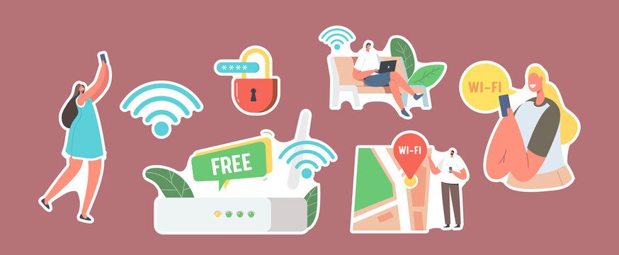 Set of Stickers Characters use Internet on Laptop and Smartphone via Wifi Wireless Router Connection. Modern Network