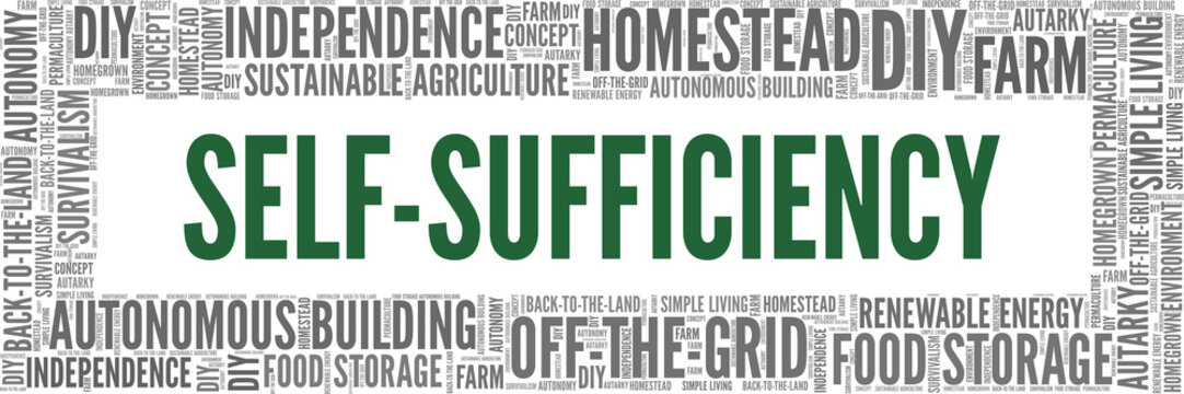 Self-sufficiency vector illustration word cloud isolated on a white background.