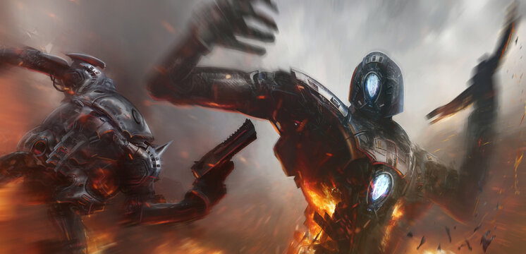 Cinematic illustration of two robots fighting in a bitter conflict.