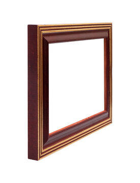 Wooden frame for paintings, mirrors or photo in perspective view isolated on white background. Design element with clipping path