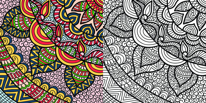 Doodle Mandala colouring book page for adults and children. white and black round decorative. Oriental Anti-stress therapy patterns. abstract zen tangle. Yoga meditation Vector illustration.