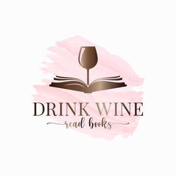 Wine glass with book watercolor white concept.