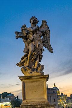 Bernini's Angel, Castel Ponte Sant Angelo Vatican, Rome, Italy. Designed by Gian Lorenzo Bernini, famous Italian sculptor in 1600's.