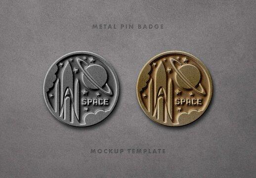 Circle Metal Pin Badge Mockup