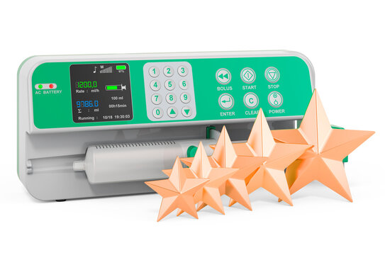 Customer rating of syringe infusion pump. 3D rendering