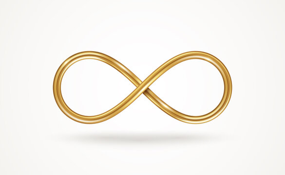 Infinity gold symbol isolated on white background. Vector illustration. Endless sign, 3d golden loop, 8 icon logo creative concept design template.
