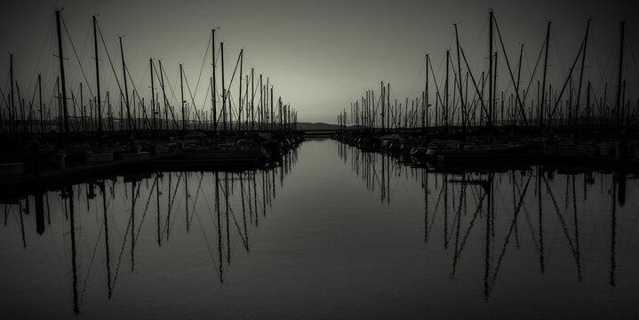 Frequency - Abstract Mono Seascape Marina from Ballard, Seattle, Washington