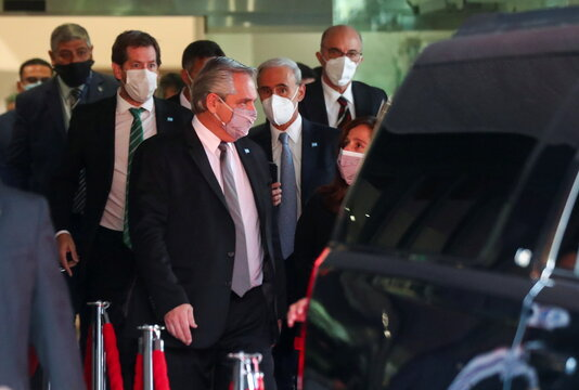 Argentina's President Alberto Fernandez leaves a hotel in Mexico City
