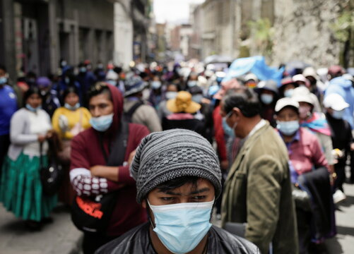 Healthcare workers protest against new government measures in La Paz