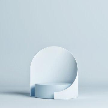 Pure mockup geometric studio for product presentation, blueback ground, 3d render, 3d illustration