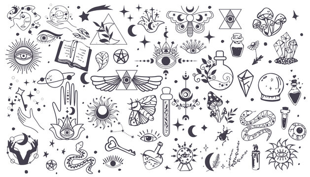 Black witch stuff. Set Witchcraft, magic elements. Collection of Mystical and Astrology objects. Mystical signs,silhouettes, zodiac signs. Vector Hand drawn elements. Astronomy. Line art illustrations