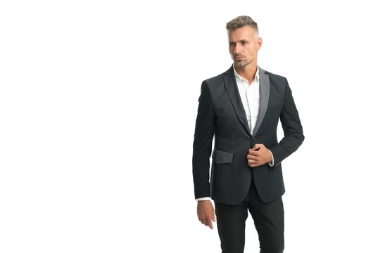 Serious unshaven bachelor wear formal fashion style suit with classy look, classic, copy space