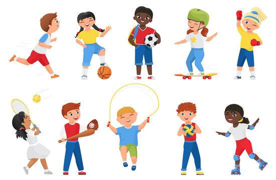 Happy kids do sports exercises vector illustration. Cartoon sportive boy girl child characters run marathon, roller skate or skateboard, jump rope, play soccer tennis baseball games isolated on white