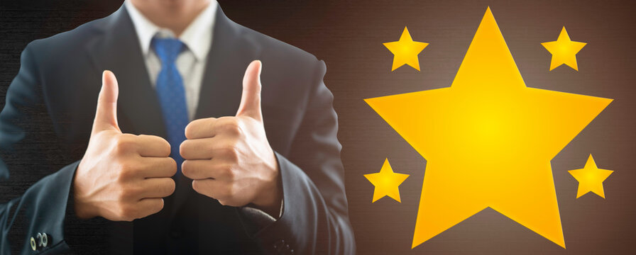 Business man show thumb up good job Success win.five stars, reward, Customer feedback, Recognition employee review.Good Comment First place competition stars. Business Success reviews from customer.