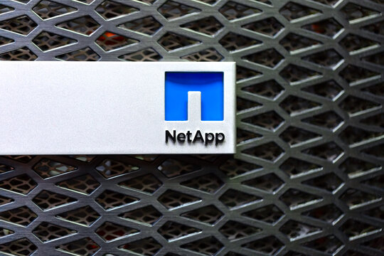 Moscow, Russia - February, 2021: Netapp logo on a storage rack in Datacenter. NetApp, Inc. is an American hybrid cloud data services and data management company headquartered in Sunnyvale, California
