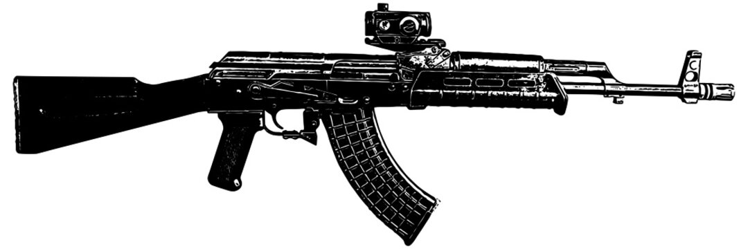 AK47 assault rifle vector illustration on white background