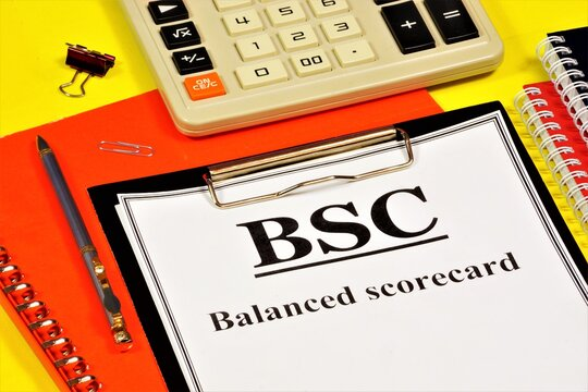 SBC. Balanced scorecard. The text label in the form on the folder. The method of strategic management of the company's performance.
