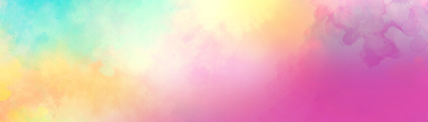 Obraz Colorful watercolor background of abstract sunset sky with puffy clouds in bright rainbow colors of pink blue yellow orange and purple - fototapety do salonu