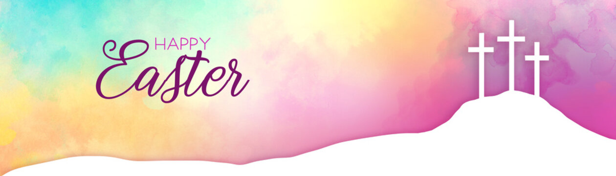 Easter background design of three white crosses on watercolor sunrise background with Happy Easter typography written in pink and burgundy, Religious Christian holiday design