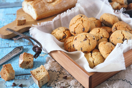 Homemade chocolate chip cookies  from stale bread