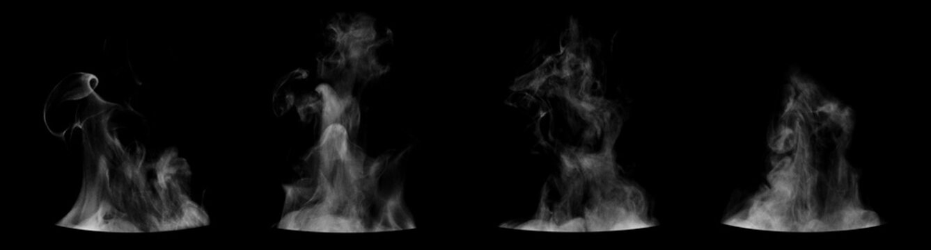 Set of steam from round dishes - pots, mugs or cups isolated on black background